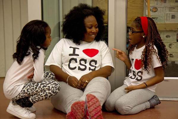 <p><p>Camden Sophisticated Sisters founder Tawanda Jones chats with Nyjae Robinson, 10, (right) and Da'Anah Harper, 6, during the group's rehearsal. (Lindsay Lazarski/WHYY)</p></p>