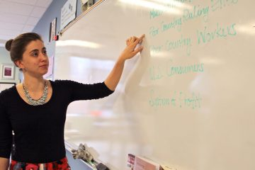 Sophie Date is a student teacher at Science Leadership Academy. After finishing her master's degree at the University of Pennsylvania, she hopes to teach high school social studies in the Philadelphia public school system. (Emma Lee/WHYY)