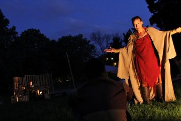 Barrymore Award-winning actress Catharine Slusar portrays Prospero. Several of the roles are gender-flipped in Shakespeare in Clark Park's version of
