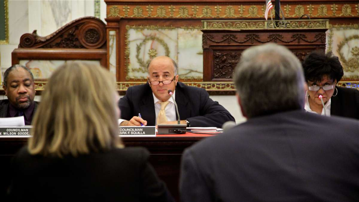 City Councilman Mark Squilla listens to testimony before the Committee on Education. (Emma Lee/WHYY)