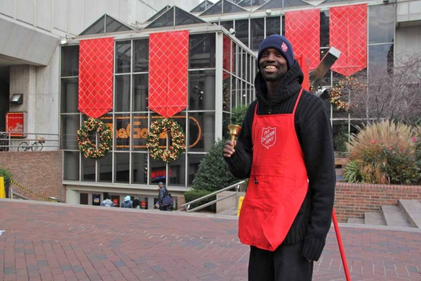 <p><p>A Salvation Army worker collects donations outside The Gallery on Market Street. The malls owners are mulling a makeover. (Emma Lee/for NewsWorks)</p></p>