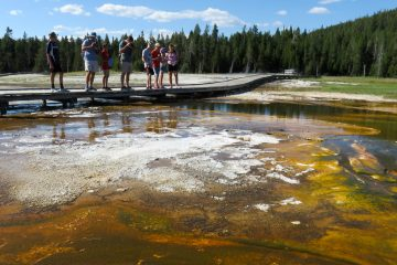 Heat-loving bacteria, called thermophiles, thrive in the run-off channels of Pump Geyser where millions of microbes connect to create long strands, or filaments. Flowing water helps weave the filaments into bacteria mats that can be as thin as tissue paper or as thick as lasagna. (Rebecca Huntington/for WHYY)