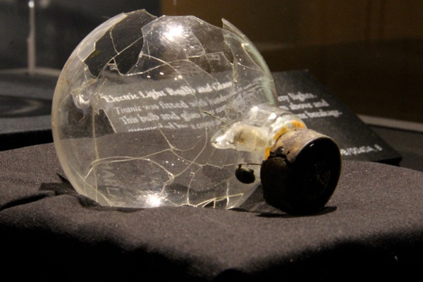 <p>An electric light bulb recovered from the wreck of the Titanic is among 300 artifacts on display at the Franklin Institute's new exhibit. (Emma Lee/for NewsWorks)</p>