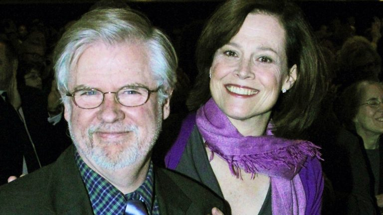 Playwright Christopher Durang, left, with actress Sigourney Weaver at curtain call on opening night of