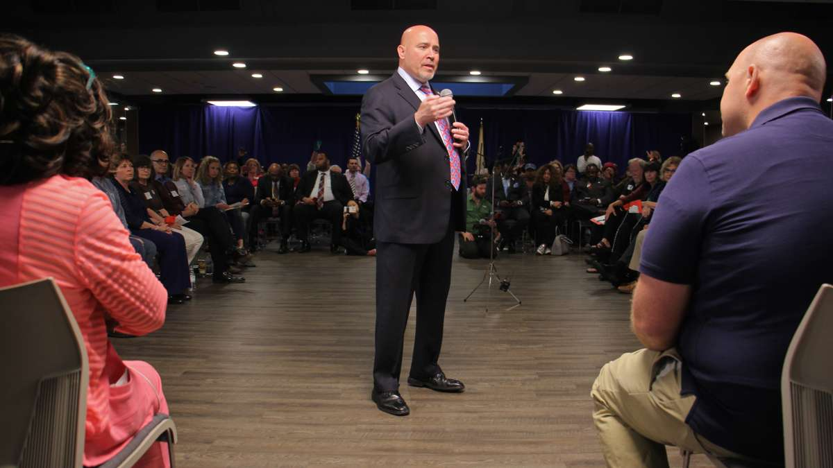 About 300 people filled the room at the John F. Kennedy Center in Willingboro where U.S. Rep Tom MacArthur held a town hall meeting. Hundreds more were turned away.