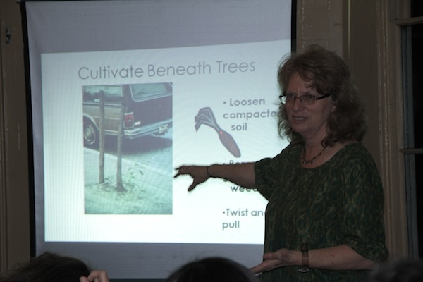 <p><p>Pennsylvania Horticultural Society tree expert Mindy Maslin speaks at Wednesday night's event at the Awbury Arboretum. (Trenae V. McDuffie/for Newsworks)</p></p>