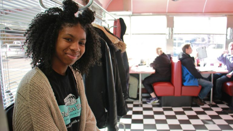 Maya Jones is a hostess at the Trolley Car Diner in Mt. Airy. (Emma Lee/WHYY)