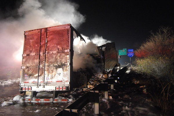 <p>&lt;p&gt;The smoldering remains of a tractor trailer sit along the shoulder on I-495. (John Jankowski/for NewsWorks)&lt;/p&gt;</p>