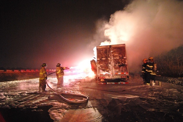 <p>&lt;p&gt;Fire fighters battled the stubborn truck fire along the side of the highway in the early Monday morning hours.&#xA0;(John Jankowski/for NewsWorks)&lt;/p&gt;</p>