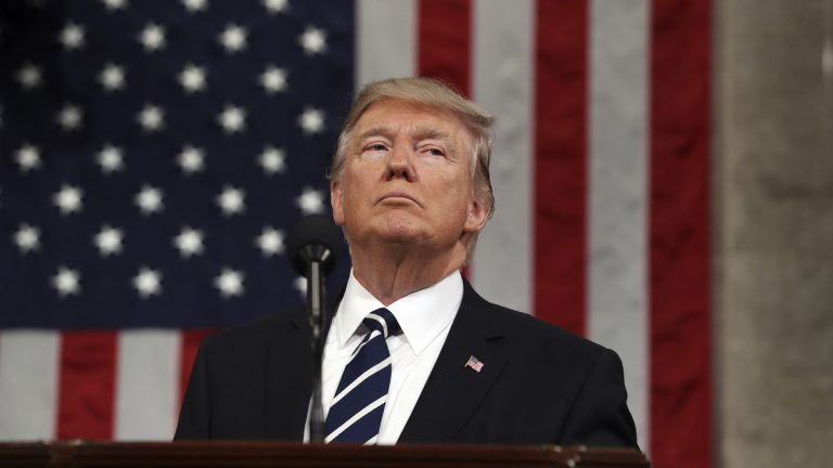 President Donald J. Trump delivers his first address to a joint session of Congress from the floor of the House of Representatives in Washington, D.C., on Feb. 28. (Jim Lo Scalzo/Pool Image via AP)