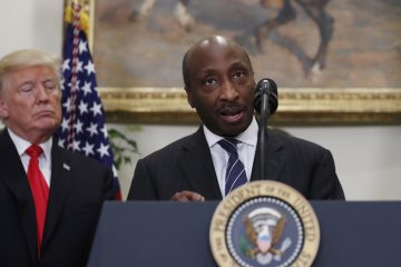 In this July 20, 2017 file photo, President Donald Trump listens as Merck CEO Ken Frazier speaks in the Roosevelt Room of the White House in Washington. (AP Photo/Alex Brandon, File)