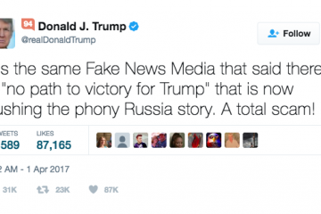 In this April 1, 2017, tweet, President Donald Trump shares his opinion about the news media and what he calls 'fake news.'