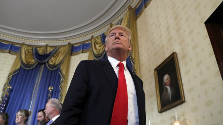 President Donald Trump departs after speaking during an event about healthcare in the Blue Room of the White House, Monday, July 24, 2017, in Washington. (AP Photo/Alex Brandon)