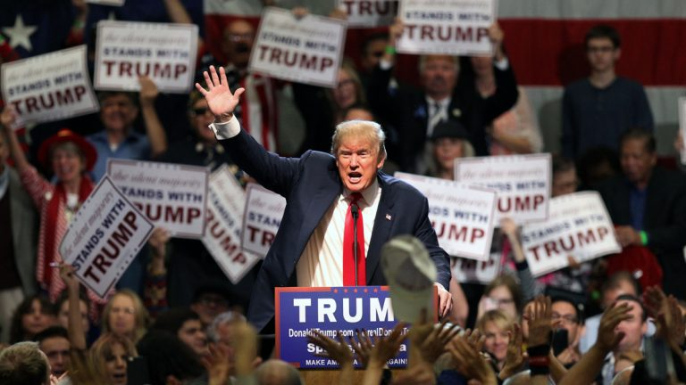Republican presidential candidate Donald Trump gestures as he speaks during a rally at the Nugget Convention Center in Sparks, Nev., Thursday, Oct. 29, 2015. (AP Photo/Lance Iversen, file)
