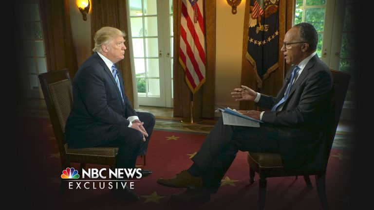 In this image provided by NBC News, NBC's Lester Holt interviews President Donald Trump on Thursday, May 11, 2017. (Joe Gabriel/NBC News via AP)