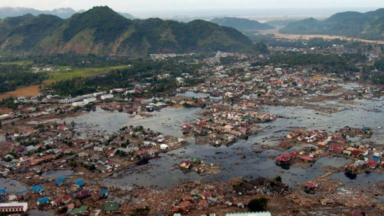 A village near the coast of Sumatra lays in ruin after the Tsunami that struck South East Asia. (<a href=