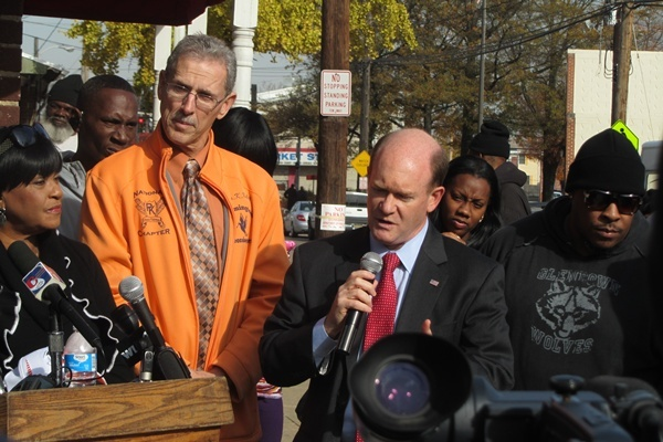 <p>&lt;p&gt;Senator Chris Coons talks to the crowd alongside Wilmington City Councilman Kevin Kelley. &#xA0;(Mark Eichmann/WHYY)&lt;/p&gt;</p>