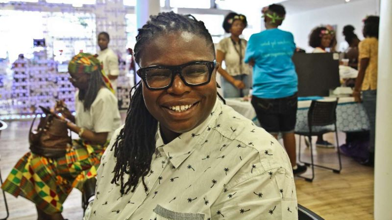 A participant of the Kinks, Locks and Twists Conference. (Kimberly Paynter/WHYY)