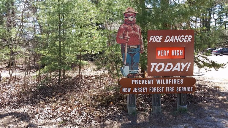 A fire risk status sign in Berkeley Township's Double Trouble State Park. (Image: Erik Weber)