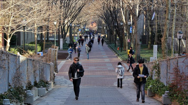 Pictured here is Locust Walk on the University of Pennsylvania campus in West Philadelphia.  (Emma Lee/WHYY, file)