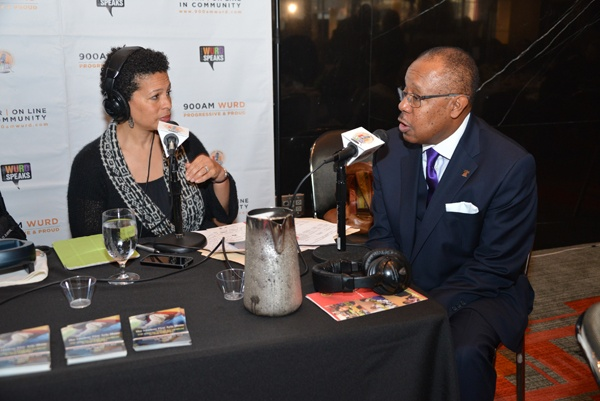 <p><p>Sara Lomax Reese, president of WURD Radio, interviews Harold Epps of PRWT Services, winner of the Business Leader Award at the luncheon (Photo courtesy of Paul Coker)</p></p>