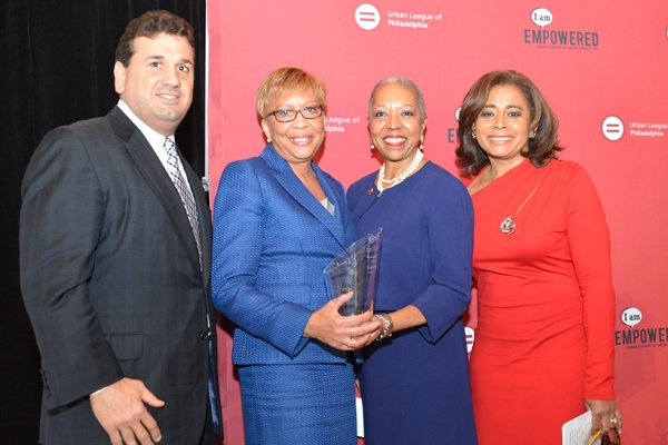 <p><p>Urban League board chair, Robert Keyes of Enterprise Holdings, Empowerment Award winner and president of United Bank of Philadelphia Evelyn Smalls, Urban League president and CEO Patricia A. Coulter, Renee Chenault Fattah of NBC10 (Photo courtesy of Paul Coker)</p></p>