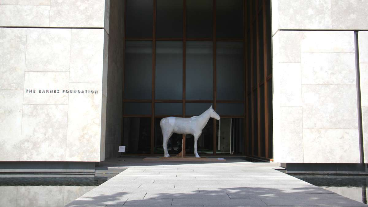 A sculpture by Jesse Engaard at the entrance to the Barnes Foundation signals the arrival of Mohamed Bourouissa's exhibition on the urban horsemen of Philadelphia's Fletcher Street stables.