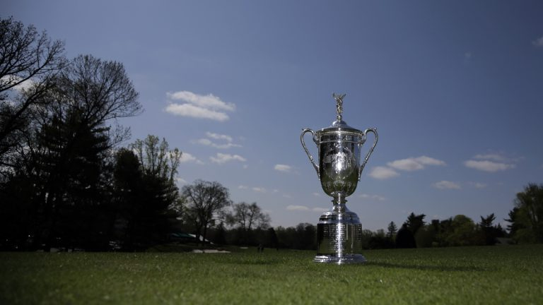 The U.S. Open Trophy is shown during a media preview at Merion Golf Club in Ardmore, Pa. (AP Photo/Matt Slocum, file)