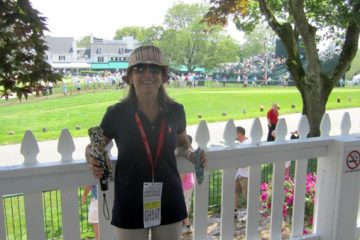 Kathy Stevenson pauses for a photo during her stroll through the U.S. Open. (Image courtesy of Joe Cox)