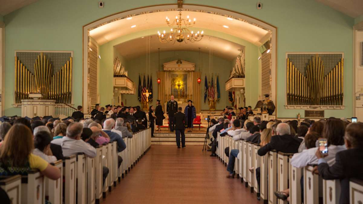 The graduation cermony for Valley Forge Military College takes place inside the Alumni Memorial Chapel, May 20, 2016.