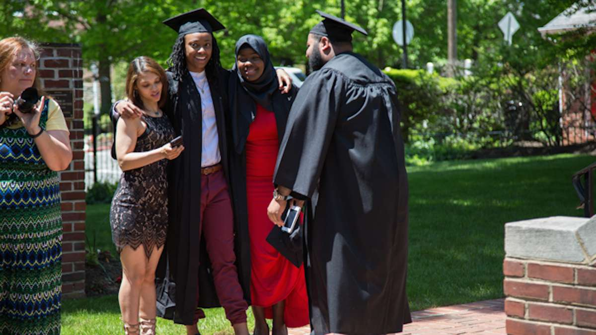 Students take photos outside before their graduation ceremony at the Valley Forge Military College, May 20, 2016.