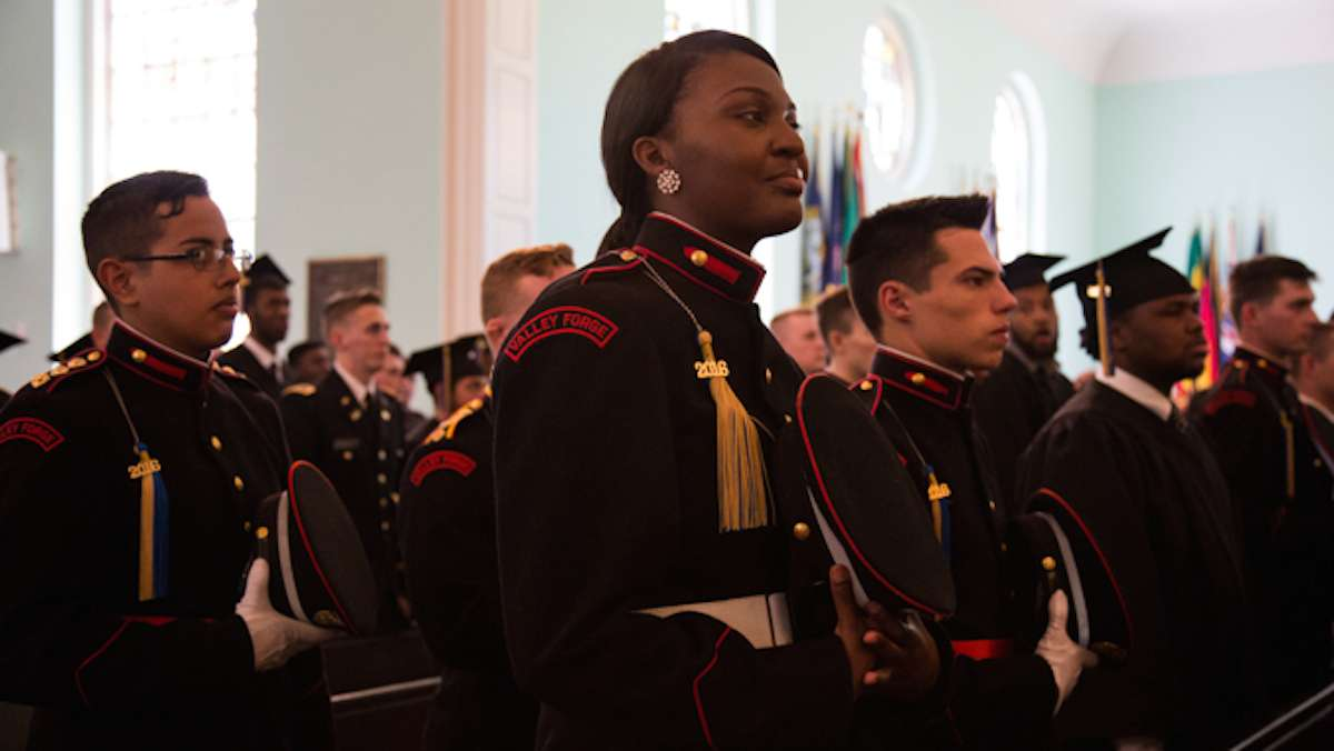 Graduates of the 2016 class at Valley Forge Military College line up in the pews of Alumni Memorial Chapel during their graduation ceremony, May 20, 2016.