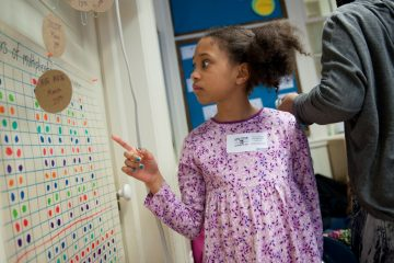 Naomi Davis, 9, looks for circles to measure in her third grade classroom. Friday was