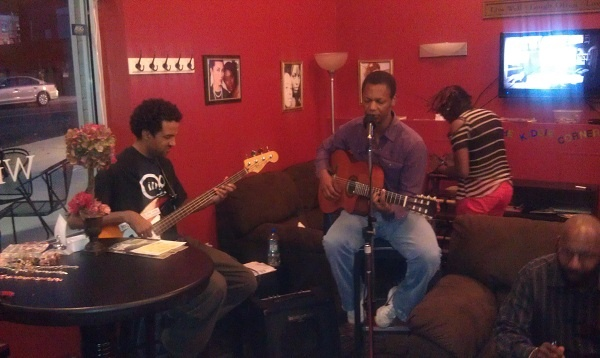 <p><p>Musicians George Tillman, with a bass guitar, and Omar Carter with an acoustic guitar. (Yasmein James/for NewsWorks)</p></p>
