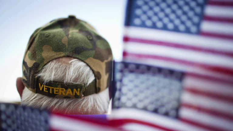 Frank Lindsey is surrounded by flags as he attends a 2014 Veterans Day parade in Montgomery, Ala. (AP Photo/Brynn Anderson)