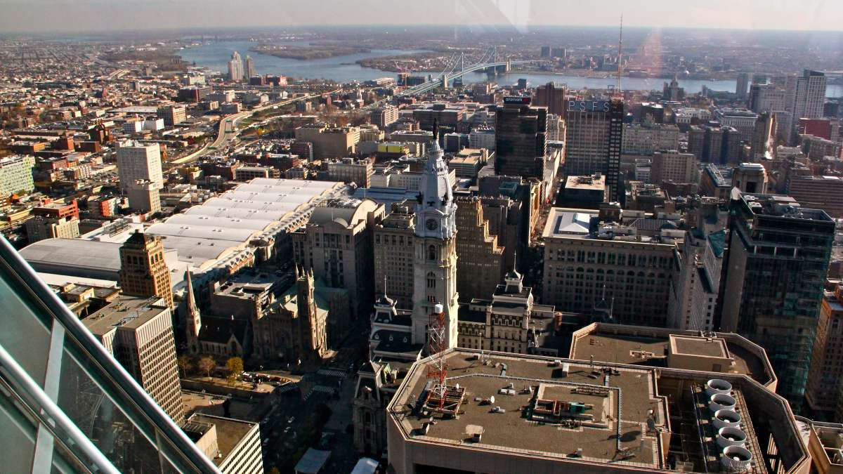 The view east past City Hall and the Ben Franklin Bridge to New Jersey.