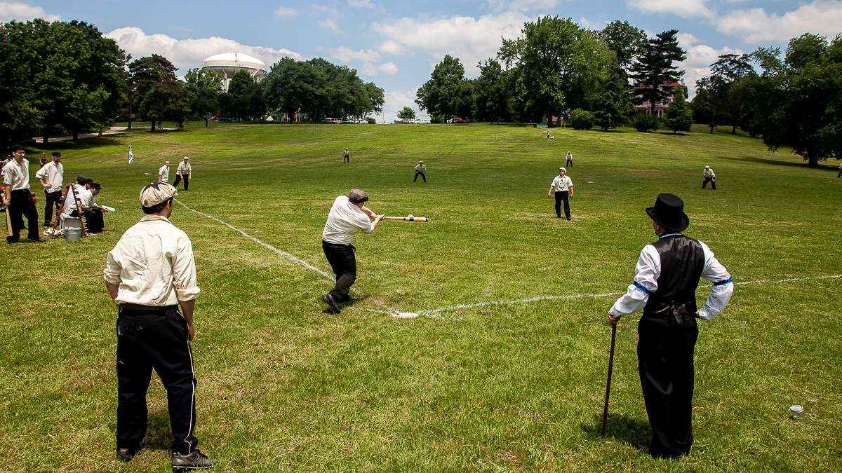 Vintage Base Ball is played wearing old style uniforms and equipment. (Brad Larrison File photo/for NewsWorks)