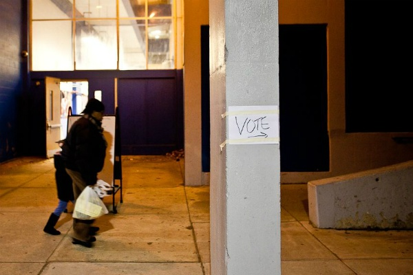 "<p><p><span style=""font-size: 12pt; line-height: 115%; font-family: 'Helvetica','sans-serif';"">Late voters made their way to the polls at Mastery Pickett Charter School in Germantown Tuesday evening in Germantown (Brad Larrison/ for NewsWorks)</span></p></p>"