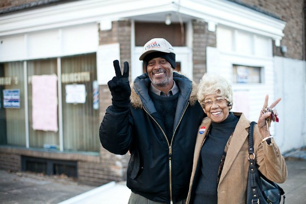 <p><p>Earl Brooks, a poll watcher and committeman, and Juanita Dennard of West Oak Lane outside of Wright's Barbershop Tuesday. (Brad Larrison/ for NewsWorks)</p></p>