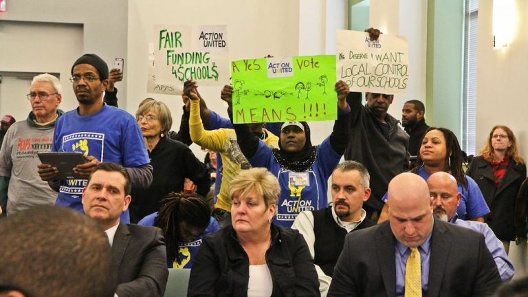 Applicants who wish to open charter schools, opponents of those plans, protesters and parents crowded the School Reform Commission meeting in 2017. The marathon session, which began at 3:30 p.m., lasted well into the night. (Kimberly Paynter/WHYY)