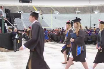 Notre Dame students walk out during Mike Pence's commencement speech (via MitchellWiggs/youtube)