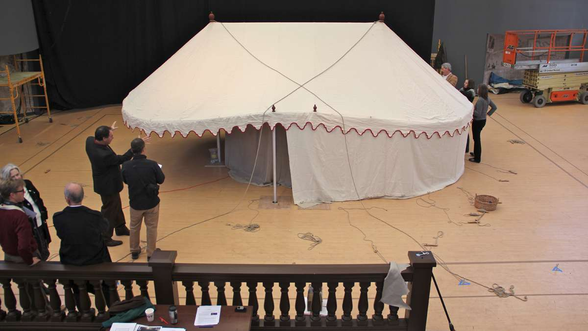 George Washington's command tent takes shape on the floor of the Museum of the American Revolution at 3rd and Chestnut streets. (Emma Lee/for NewsWorks)