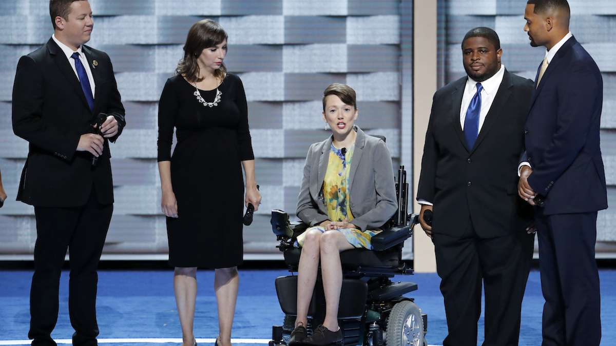 Dustin Parsons, Kate Burdick, Dynah Haubert, Anton Moore and Thaddeus Desmond speak during the second day of the Democratic National Convention in Philadelphia , Tuesday, July 26, 2016