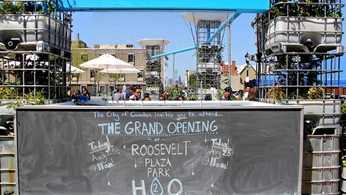 Camden's new Roosevelt Plaza Park H2O aims to educate visitors and provide a shady oasis in the city. (Emma Lee/WHYY)
