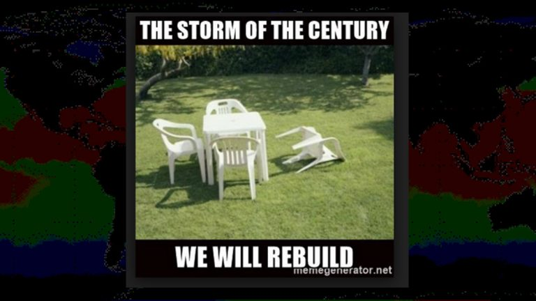 When big storms don't materialize memes like this one with the single chair knocked over are shared on social media.  (Photo via Memegenerator.net)
