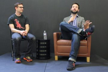 DuckDuckGo founder Gabe Weinberg (left) joins reddit cofounder Alexis Ohanian for a public talk at First Round Capital in University City. (Emma Lee/for NewsWorks)