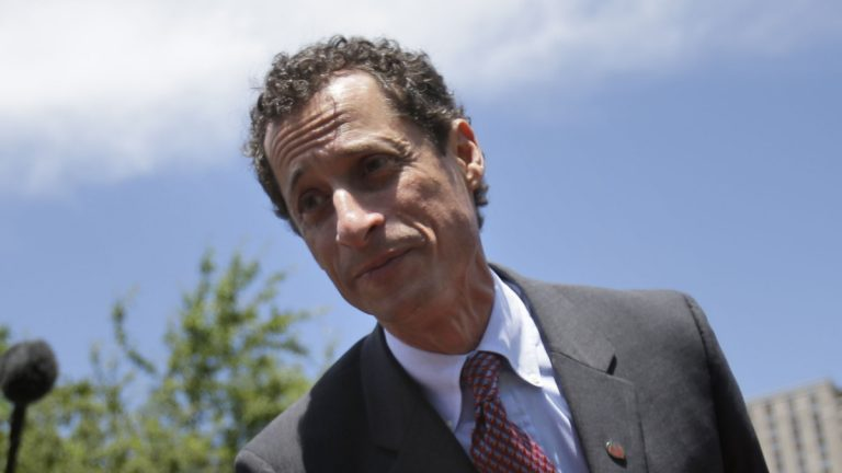 New York City mayoral candidate Anthony Weiner greets people at a Memorial Day ceremony in New York, Sunday, May 26, 2013. (AP Photo/Seth Wenig)