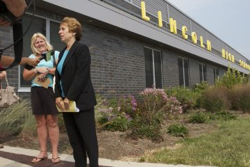 Outside Abraham Lincoln High School, Randi Weingarten, president of the American Federation of Teachers, said the decision to deny her entry came from officials at the Philadelphia School District, not Lincoln's principal. The district said it was the principal's decision. (Charlie Kaier/WHYY)