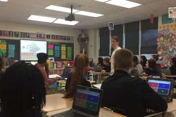 Students at Conrad Schools of Science learn to discern real news from fake news. (Cris Barrish/WHYY)