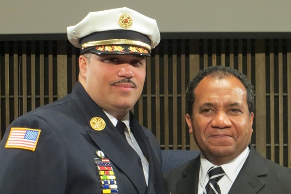 <p><p>Chief of Fire Anthony Goode and Mayor Dennis P. Williams (Shirley Min/WHYY)</p></p>